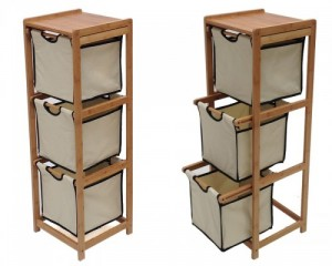 bamboo and canvas drawer rack