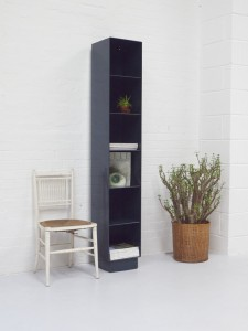 design masters - tall slim indigo blue pigeon hole shelf unit