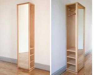 oak storage mirror