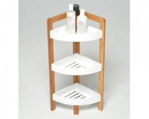 bamboo white corner shelf