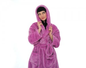 fleece bathrobe with hoodie