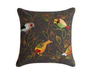 Futon Company New cushion collection hand embroidered in India - finches