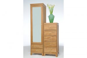 Oak-narrow-chest-of-drawers-and-wardrobe